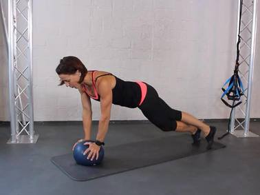 High Plank Leg Crossover mit Jam Ball
