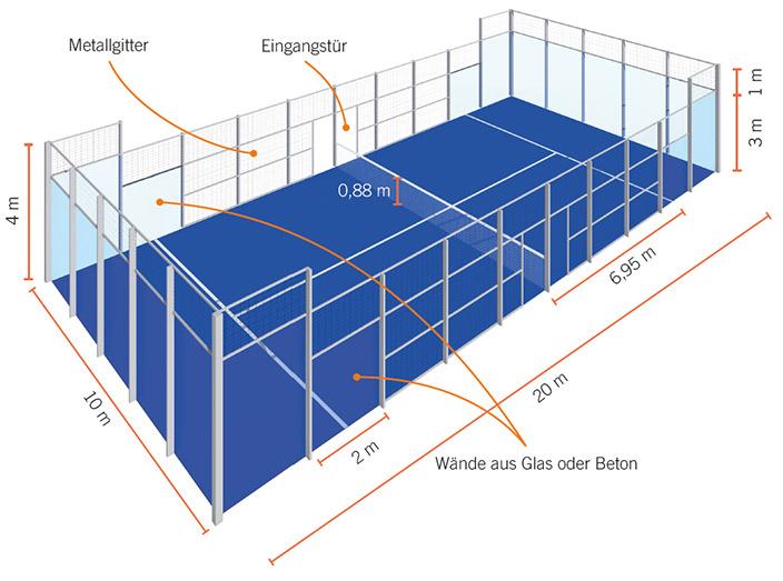 Erklärung der Größe des Spielfeldes beim Padel-tennis