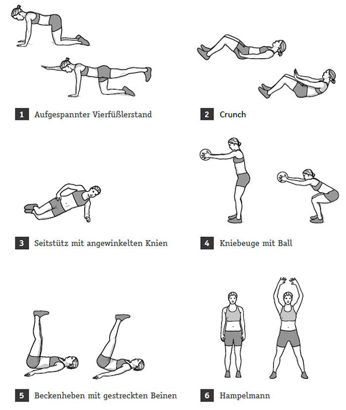 bauch,beine,po: aufbau von workout und übungen für zuhause